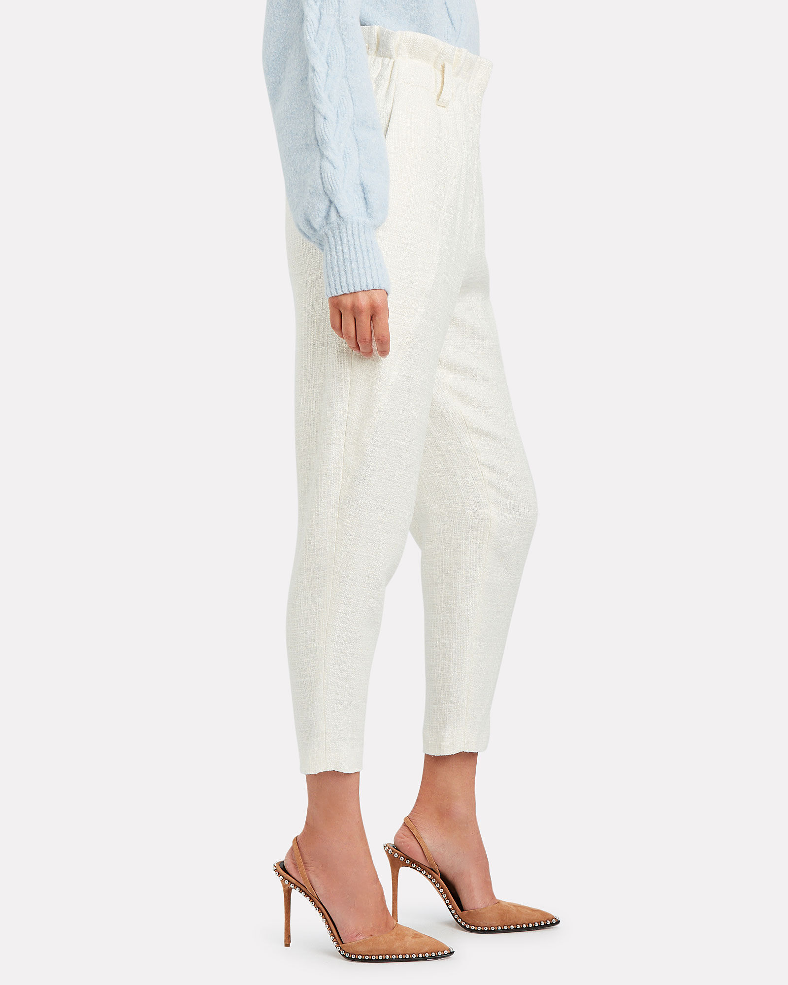 Kaly Cropped Paperbag Trousers, ECRU, hi-res