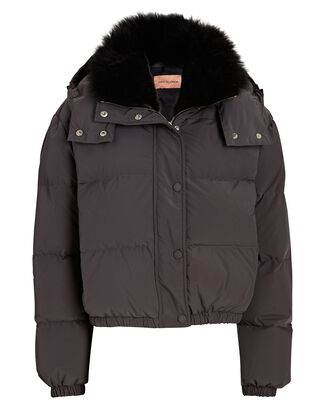 Hooded Quilted Puffer Jacket, GREY, hi-res