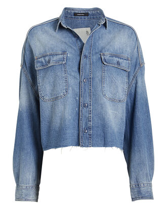 Distressed Denim Cropped Shirt, BLUE DENIM, hi-res