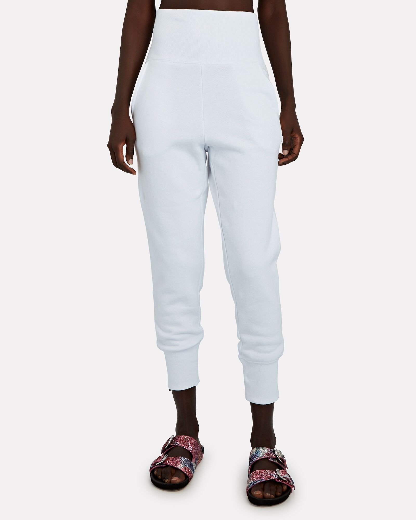 So High-Waisted Terry Sweatpants, WHITE, hi-res