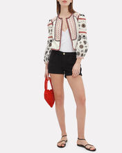 Shilin Cropped Linen Jacket, IVORY, hi-res
