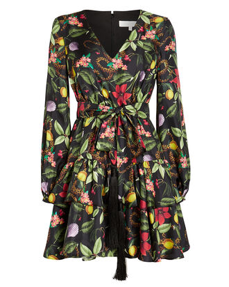 Olivia Floral Silk Twill Dress, BLACK/FLORAL, hi-res