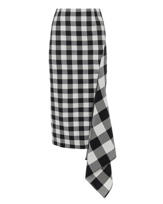 Split Gingham Midi Skirt, BLK/WHT, hi-res
