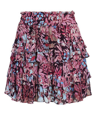 Benicia Floral Mini Skirt, PINK/BLUE, hi-res