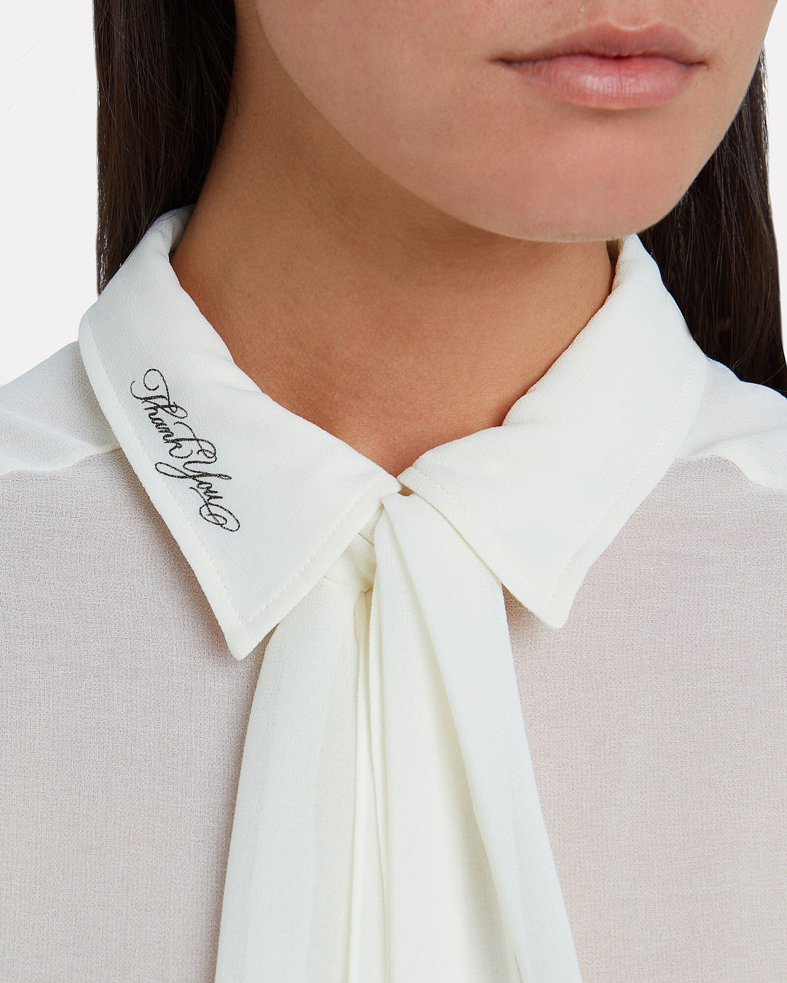 Ruffled Tie-Front Georgette Blouse, IVORY, hi-res