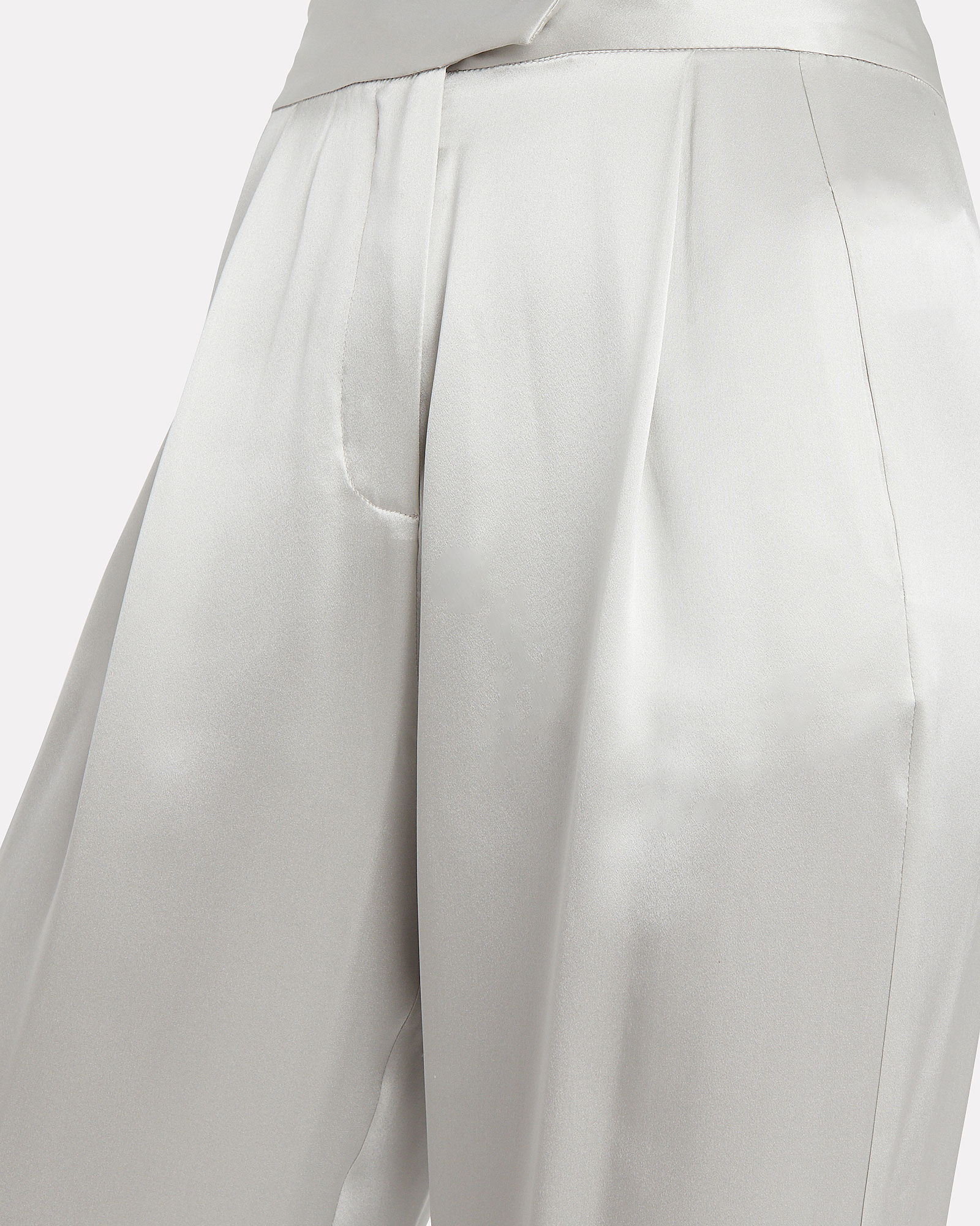 Silk Charmeuse Wide Leg Trousers, SILVER, hi-res