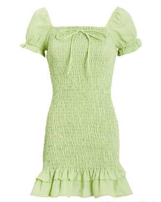 Cette Linen Dress, LIME GREEN, hi-res