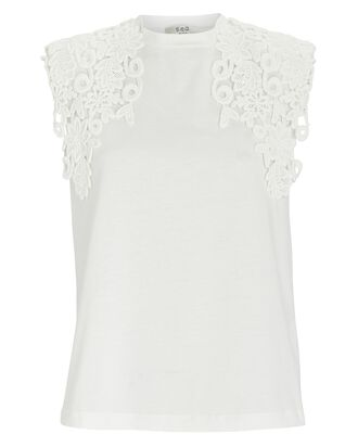 Zandra Lace Padded Shoulder T-Shirt, IVORY, hi-res