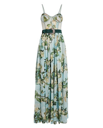 Belted Floral Bustier Maxi Dress, LIGHT BLUE/GREEN, hi-res