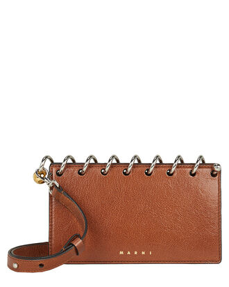 Coiled Leather Clutch, BROWN, hi-res