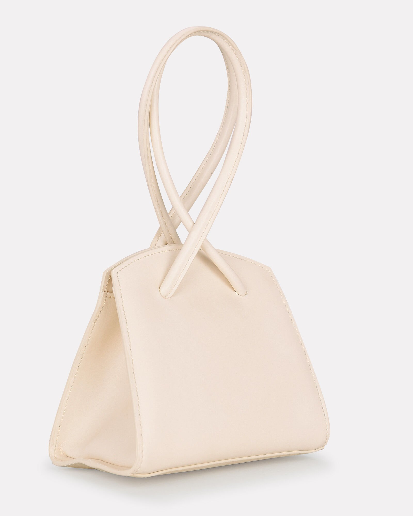 Twisted Leather Mini Wristlet, IVORY, hi-res