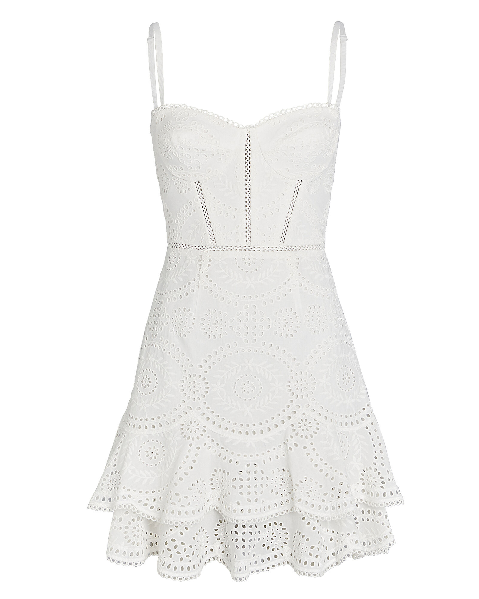 Broderie Anglaise Bustier Mini Dress, WHITE, hi-res