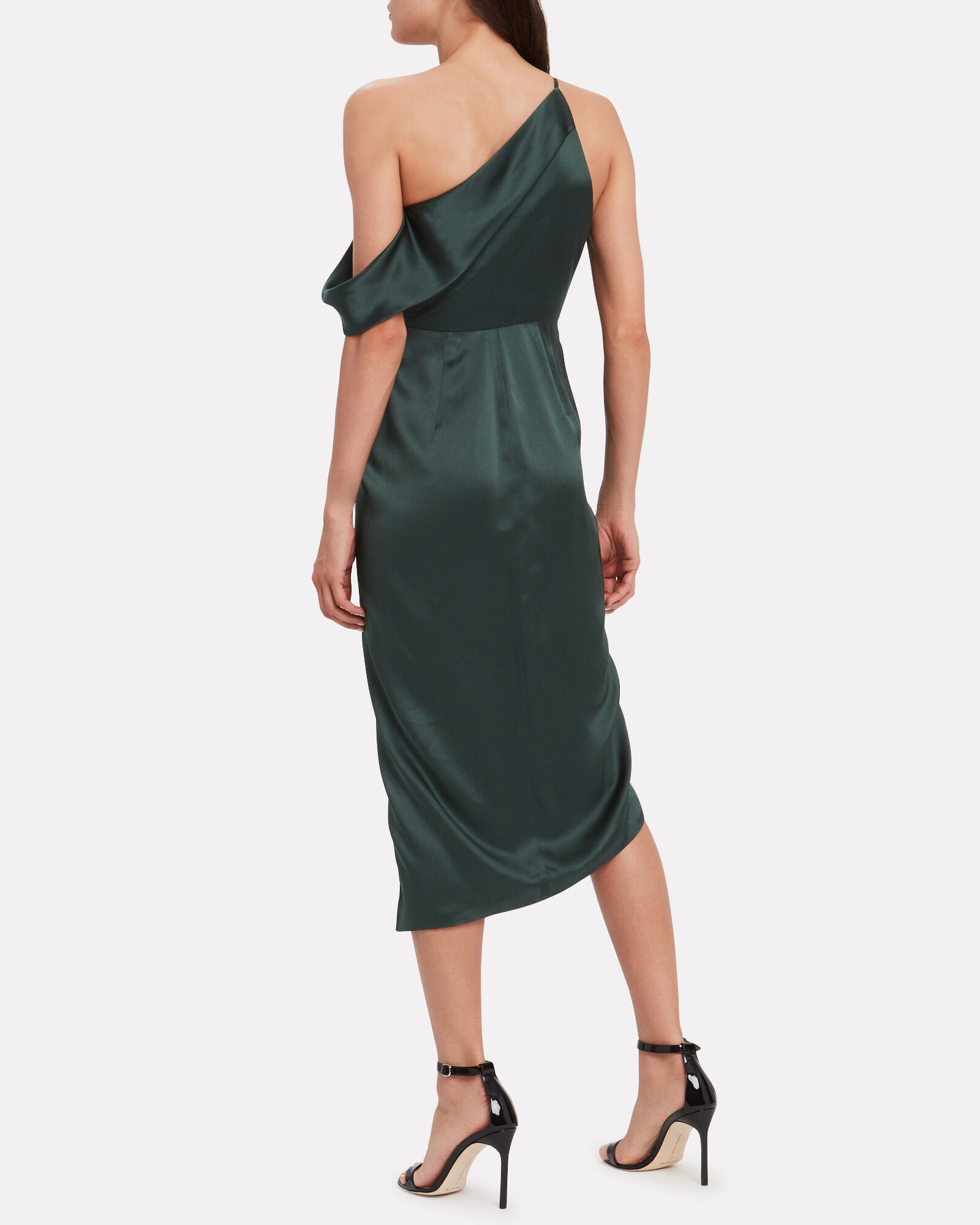 One-Shoulder Draped Silk Dress, GREEN, hi-res