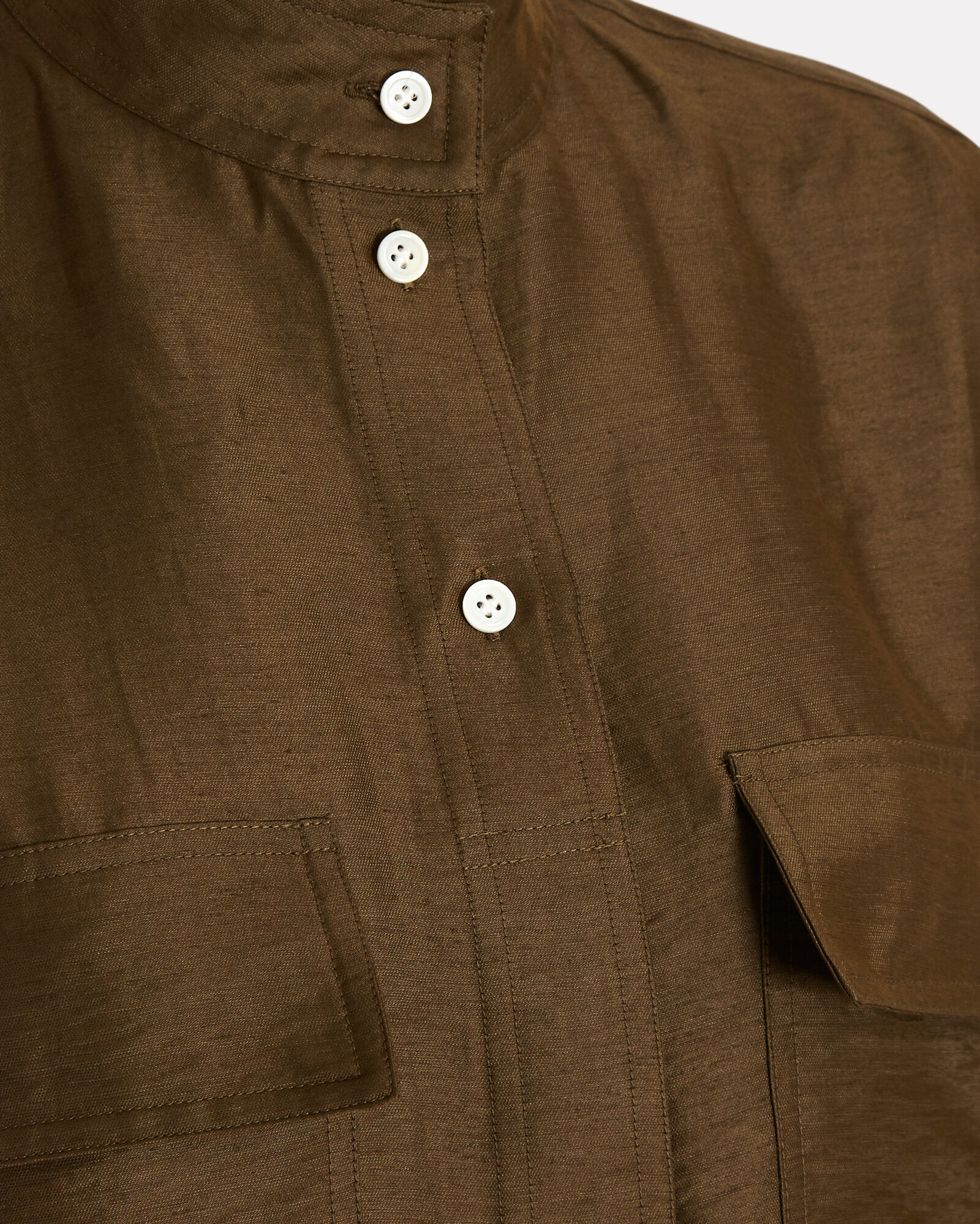Clean Safari Linen-Blend Shirt, OLIVE, hi-res
