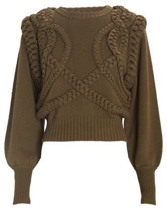Yeva Cable Knit Sweater, OLIVE, hi-res