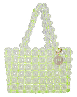 Keith Beaded Top Handle Tote, LIGHT GREEN/CLEAR, hi-res