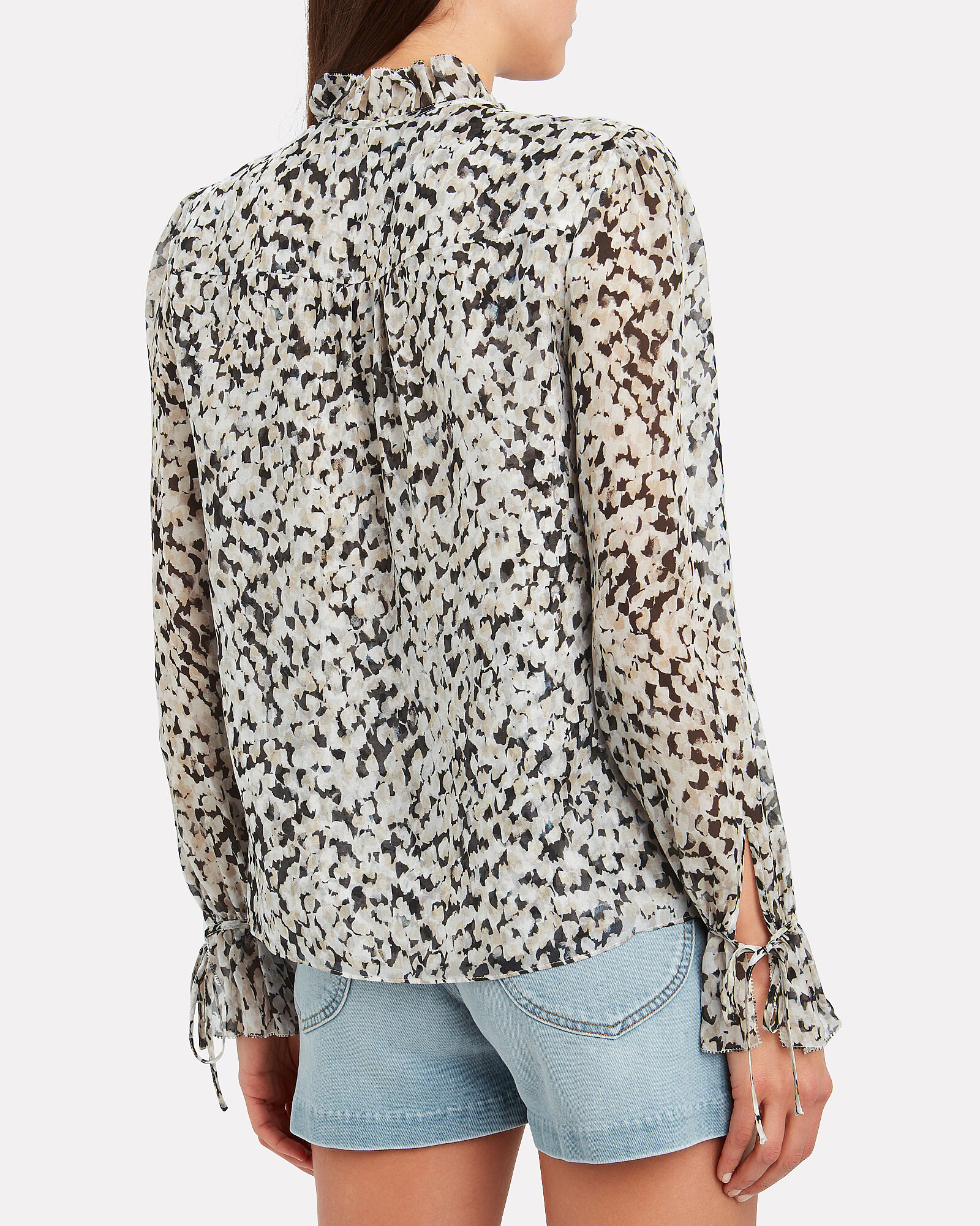 Cody Silk Floral Blouse, BLACK/WHITE, hi-res