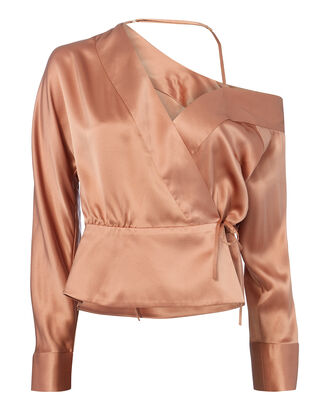 Cold Shoulder Wrap Top, BLUSH, hi-res