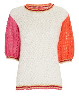 Puff Sleeve Pointelle Mohair-Blend Sweater, MULTI, hi-res