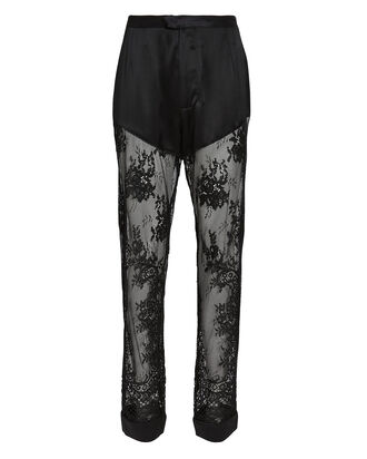 Cillis Silk Lace Pajama Pants, BLACK, hi-res