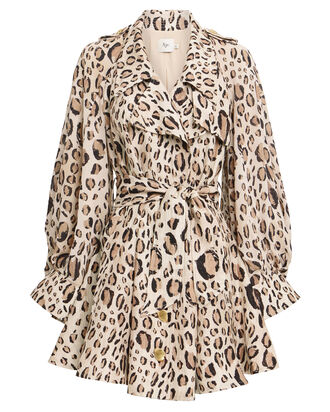 Loren Ruffled Cape Dress, LEOPARD, hi-res