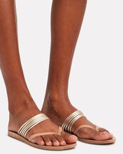 Kilini Leather Slide Sandals, BEIGE, hi-res