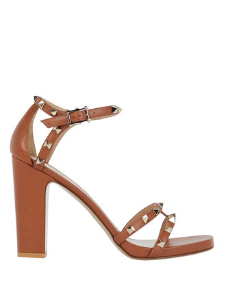 Rockstud Leather Sandals, BROWN, hi-res