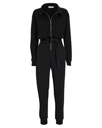 Carson Belted Terry Jumpsuit, BLACK, hi-res