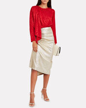 Monet Draped Moiré Blouse, RED, hi-res