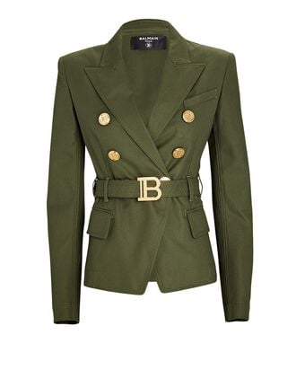 Belted Double-Breasted Blazer, OLIVE/ARMY, hi-res