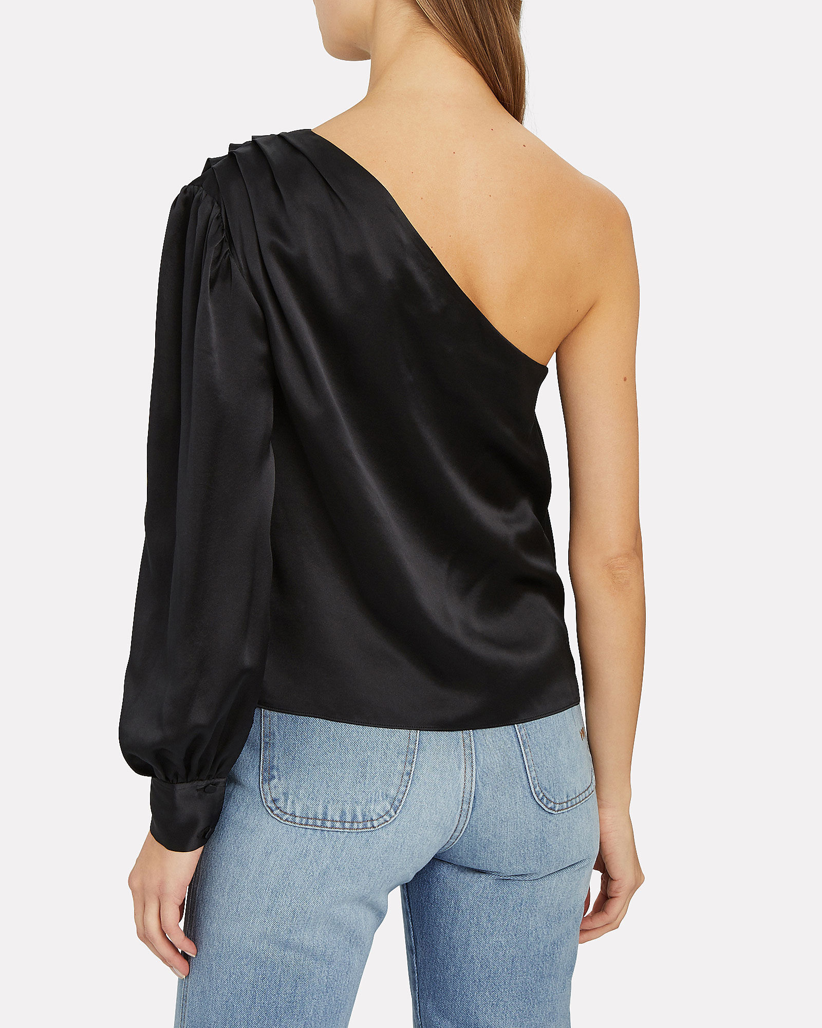 Silk Charmeuse One-Shoulder Blouse, BLACK, hi-res