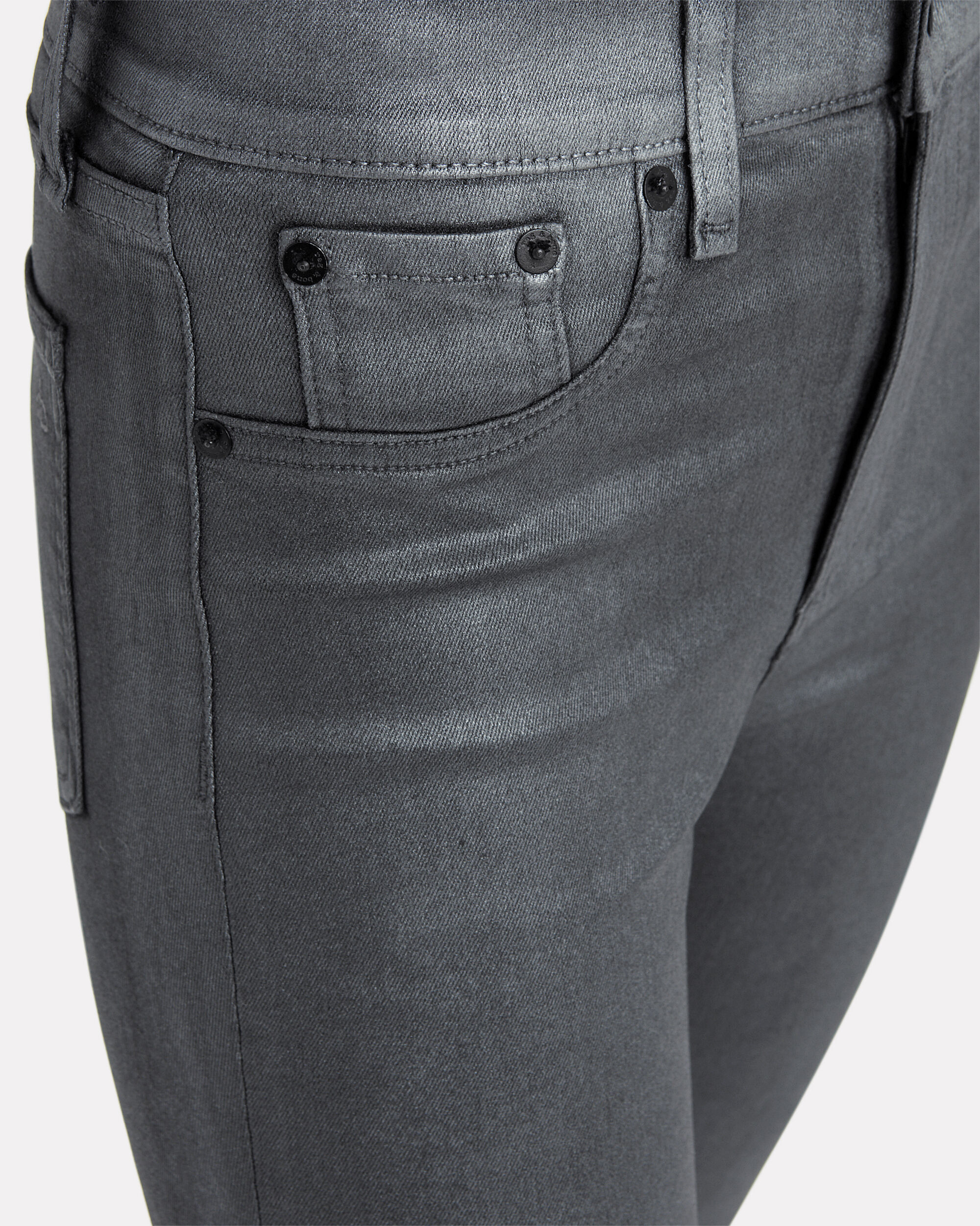 High-Rise Metallic-Coated Jeans, SILVER, hi-res