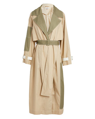 Colorblock Trench Coat, KHAKI/GREEN, hi-res
