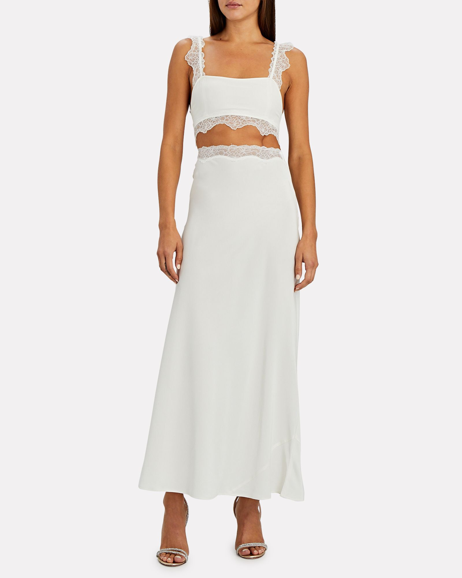 Alma Lace-Trimmed Silk Skirt, IVORY, hi-res