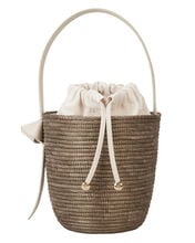 Breton Woven Bucket Bag, WHITE/BROWN, hi-res