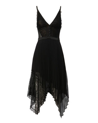 Lace Pleated Dress, BLACK, hi-res