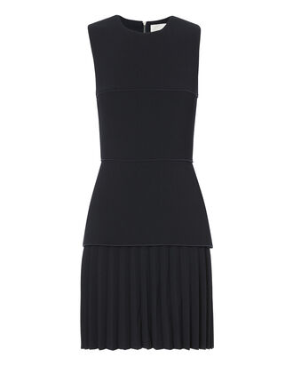 Linear Crepe Pleated Mini Dress, NAVY, hi-res