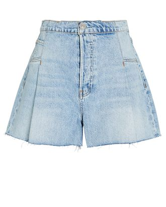 Paperbag Loose Denim Shorts, Mirrors, hi-res
