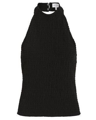 Jimena Smocked Halter Top, BLACK, hi-res