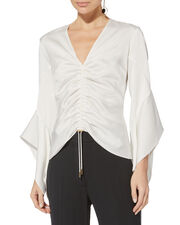 Satin Ruched V-Neck Blouse, WHITE, hi-res