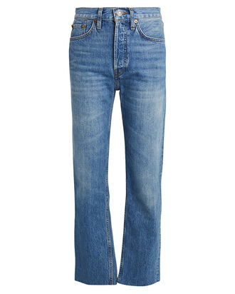 High-Rise Stove Pipe Jeans, BRIGHT INDIGO DENIM, hi-res