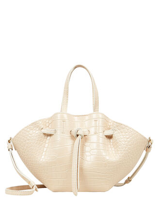 Mini Lynne Croc-Embossed Shoulder Bag, IVORY, hi-res