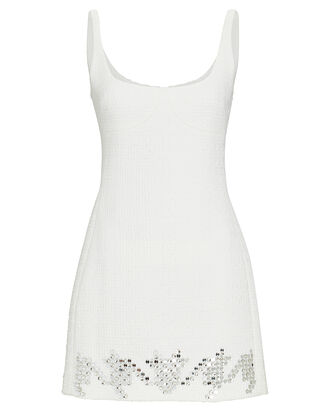 Sequined Tweed Mini Dress, WHITE, hi-res