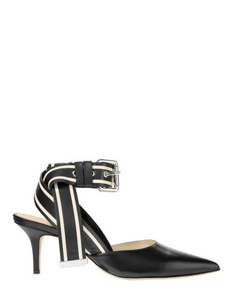 Racing Striped Kitten Heels, BLACK, hi-res