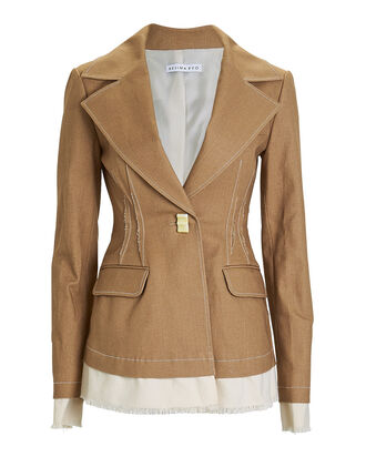 Edith Two-Tone Canvas Blazer, ALMOND, hi-res