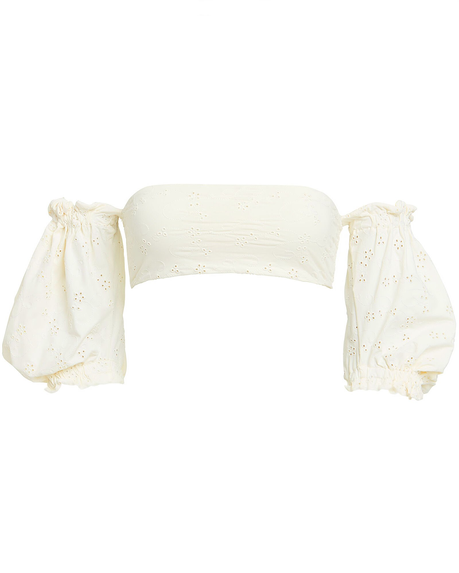 Ravello Puff Sleeve Bikini Top, WHITE, hi-res