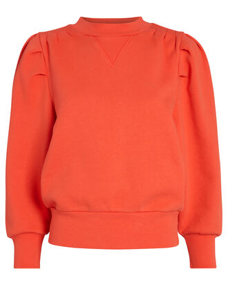 Shirred Puff Sleeve Sweatshirt, RED, hi-res