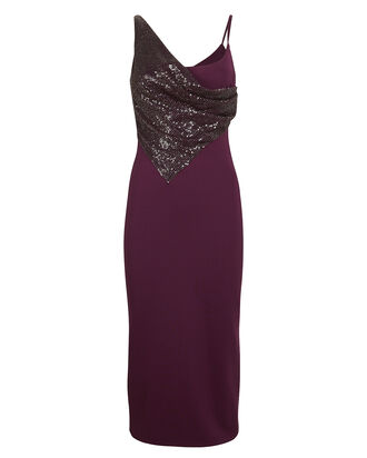 Sequin Embellished Crepe Dress, PLUM, hi-res