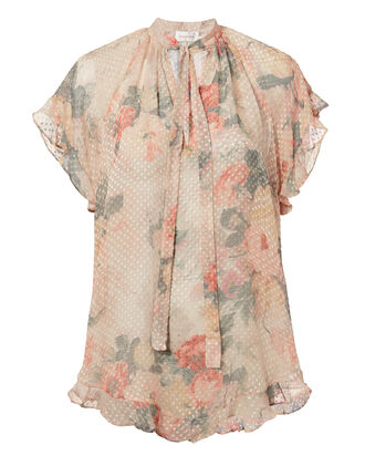 Sunny Frill Swing Floral Top, BLUSH, hi-res