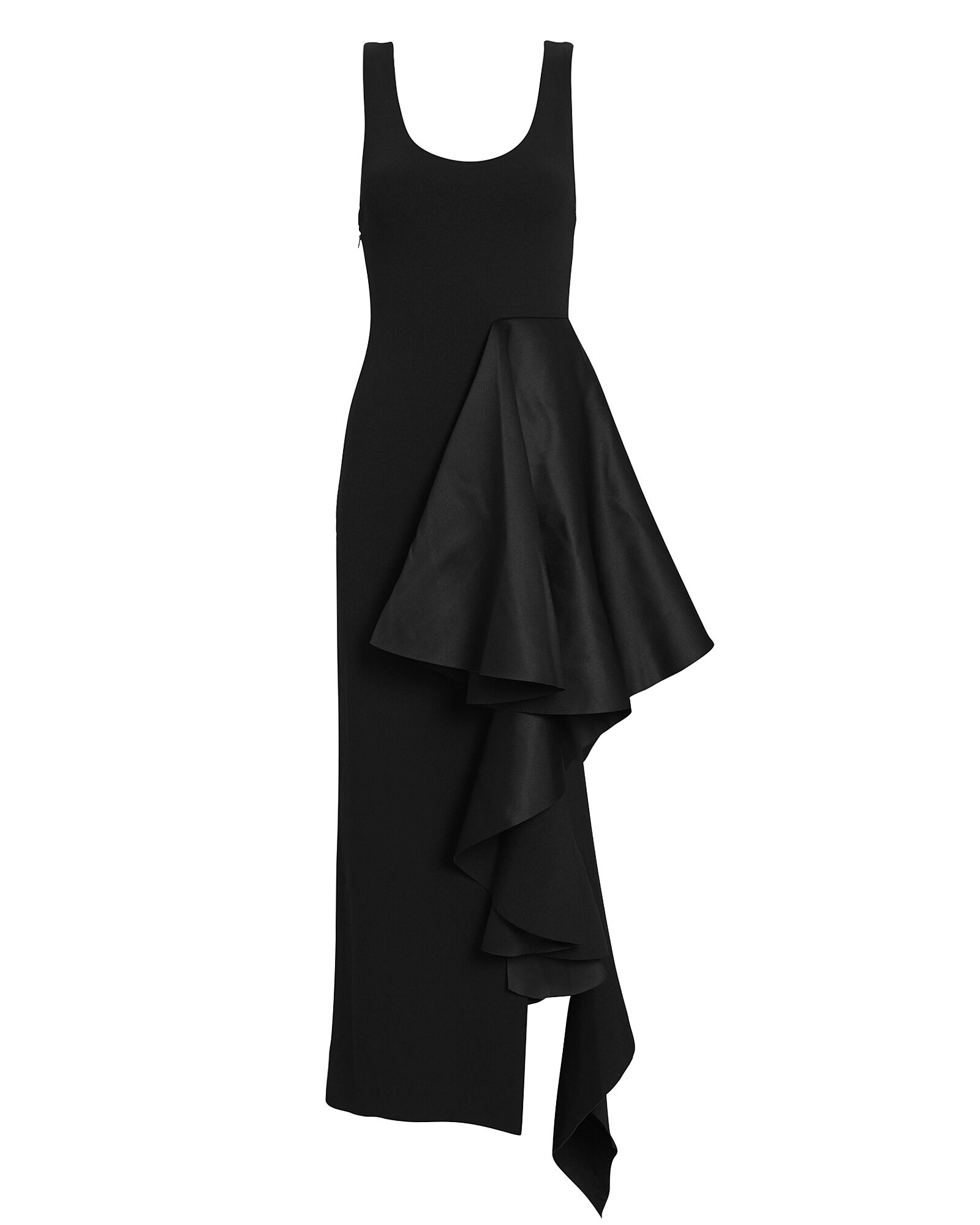 Naya Ruffled Midi Dress, BLACK, hi-res
